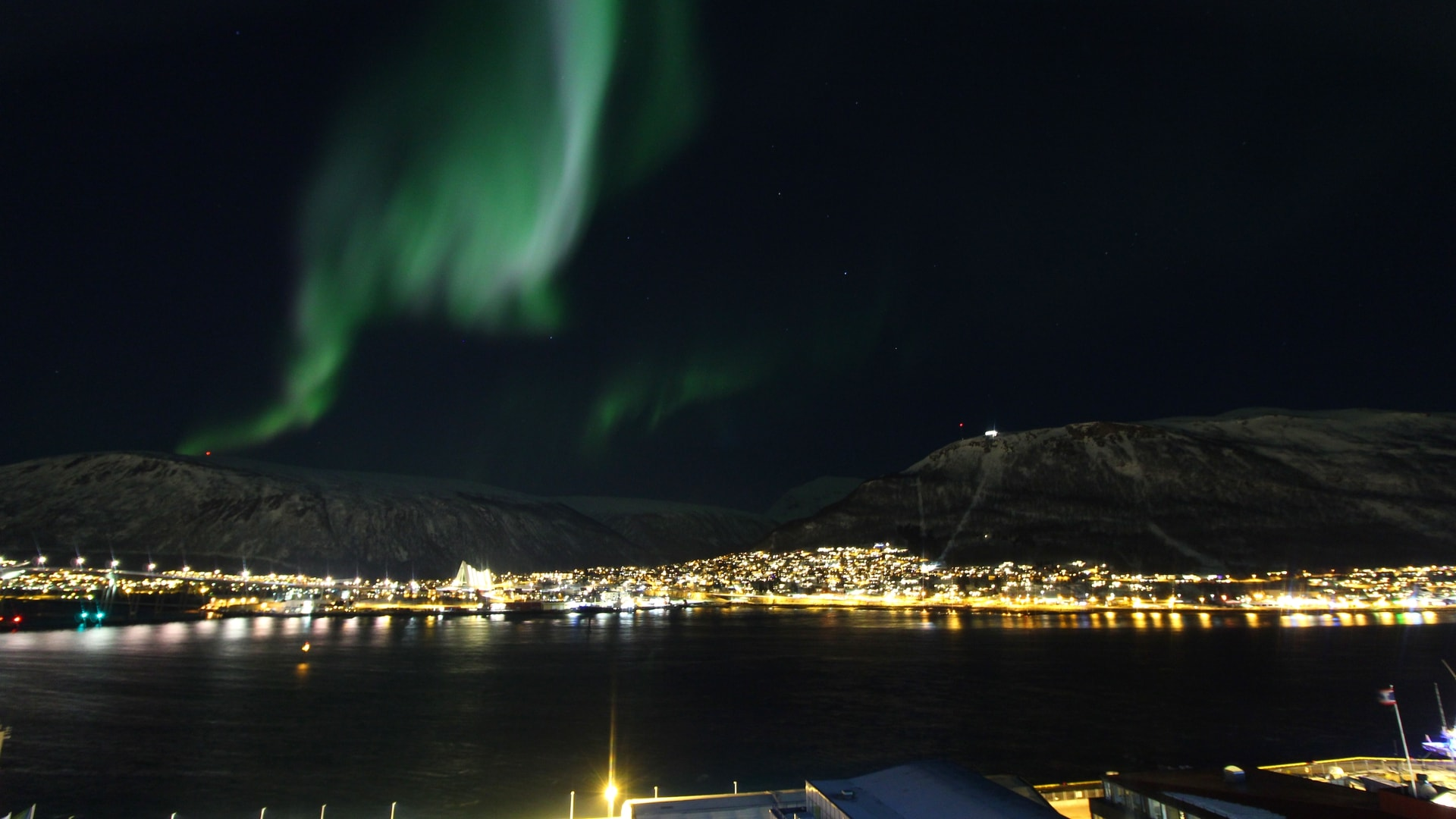 The Aurora captured on the Radisson Blu, Tromso webcam in the Arctic Circle