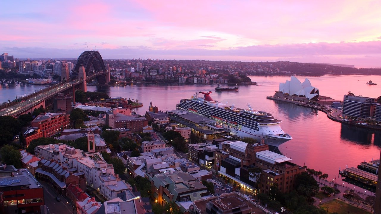 Sunrise over Sydney Harbour, Australia - Captured on the Quay West Suites webcam