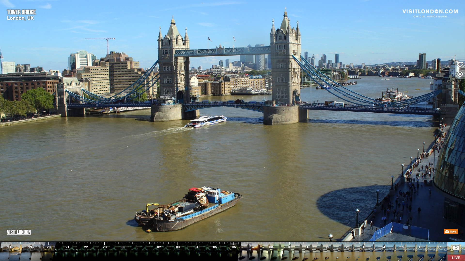 VisitLondon.com Webcam - Looking over Tower Bridge, London, UK