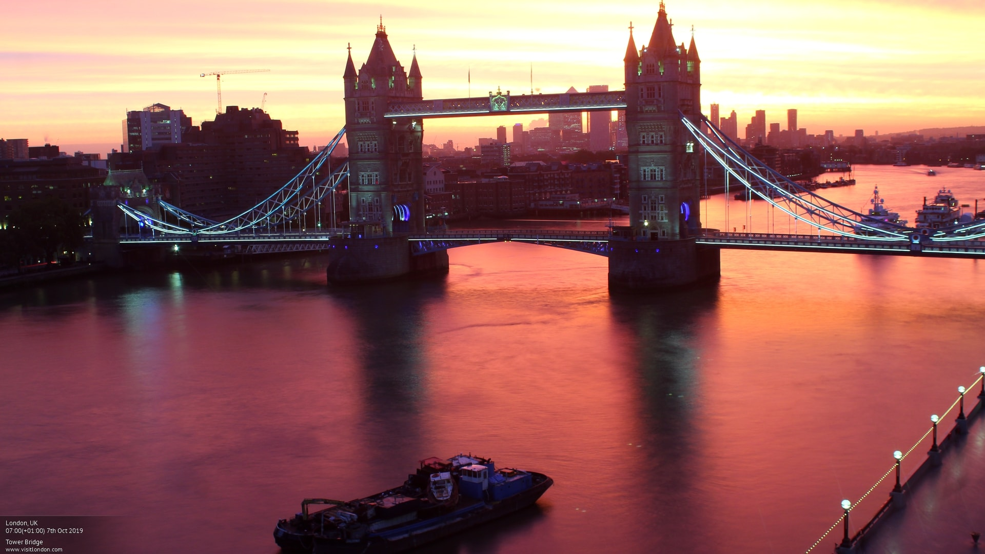 Tower Bridge in London, UK - Captured on the VisitLondon.com webcam